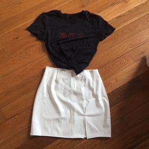 White latex/leather skirt